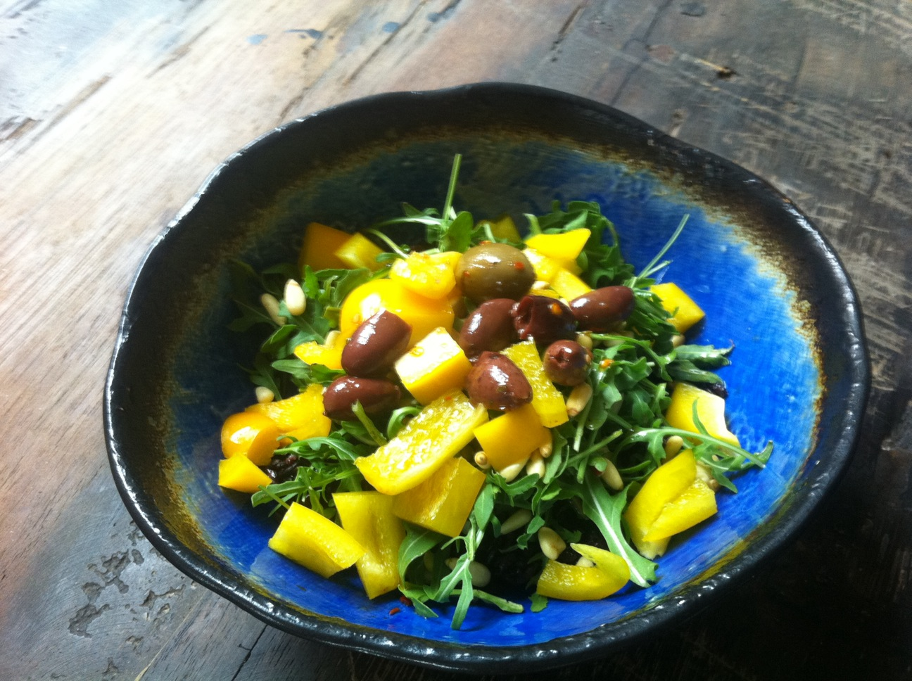 Arugula with Yellow Pepper & Pine Nuts