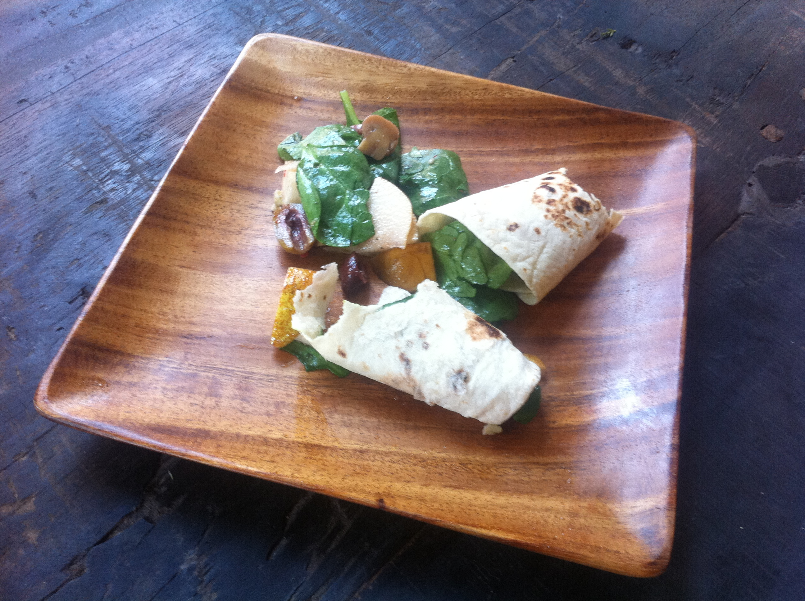 Spinach Olive Pear Wrap